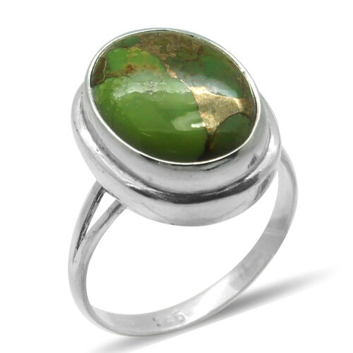 Royal Bali Collection Mojave Green Turquoise (Ovl) Solitaire Ring in Sterling Silver 7.480 Ct.