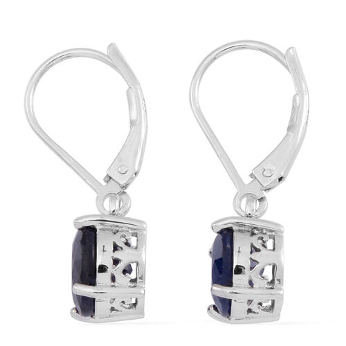 Blue Sapphire (Rnd) Lever Back Earrings in Rhodium Plated Sterling Silver 5.000 Ct.