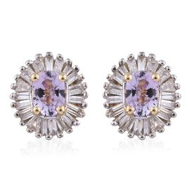 14K Y Gold AA Pink Tanzanite (Ovl), Diamond (I2-I3 G-H) Stud Earrings (with Push Back) 0.650 Ct.