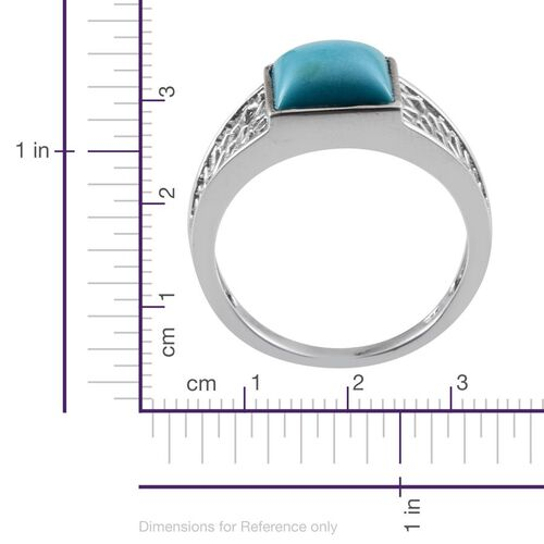 Arizona Sleeping Beauty Turquoise (Sqr) Solitaire Ring in Platinum Overlay Sterling Silver 3.000 Ct.