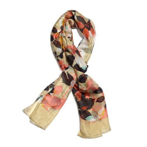 100% Mulberry Silk Golden, Pink and Multi Colour Leaves Hand Screen Printed Scarf (Size 180X50 Cm)
