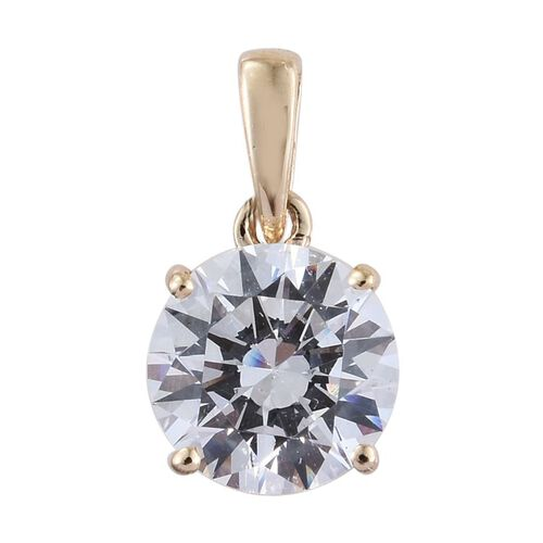 J Francis - 9K Y Gold (Rnd) Solitaire Pendant and Stud Earrings (with Push Back) Made with SWAROVSKI ZIRCONIA
