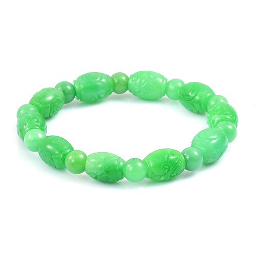 Limited Edition - Rare AAA Green Jade Hand Carved Engraved Stretchable Bracelet (Size 7.5) 160.000 Ct.