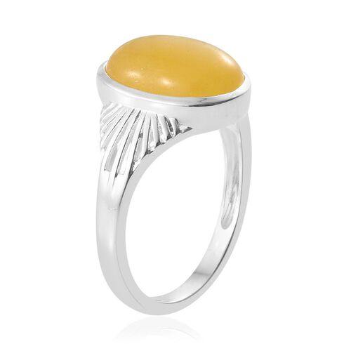 Yellow Jade (Ovl) Solitaire Ring in Sterling Silver 6.000 Ct.