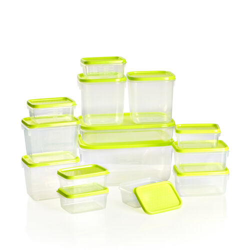 Set of 14 Food Storage Containers Freezer and Dishwasher Safe- Green (1800ml, 750ml, 600ml -2, 400ml -2, 250ml - 2, 125ml - 6) - Green
