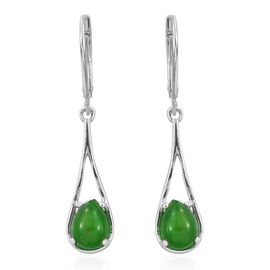Green Ethiopian Opal (Pear) Lever Back Drop Earrings in Platinum Overlay Sterling Silver 1.500 Ct.