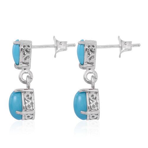 Arizona Sleeping Beauty Turquoise (Ovl) Earrings in Sterling Silver 3.500 Ct.