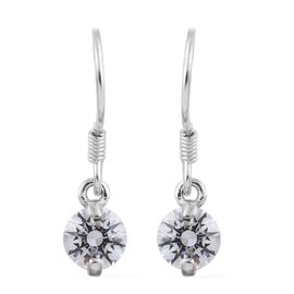 J Francis - Platinum Overlay Sterling Silver (Rnd) Hook Earrings Made with SWAROVSKI ZIRCONIA