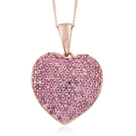 Red Carpet Collection Colour of Pink Sapphire (Rnd) Heart Pendant with Chain in Rose Gold Overlay Sterling Silver 2.560 Ct. Number of Gemstones 139pcs
