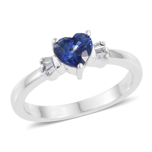 ILIANA 18K White Gold 1 Carat Ceylon Blue Sapphire Heart, Diamond SI G-H Ring.