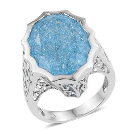 Paraiba Blue Crackled Quartz (Ovl) Ring in Platinum Overlay Sterling Silver 16.500 Ct.