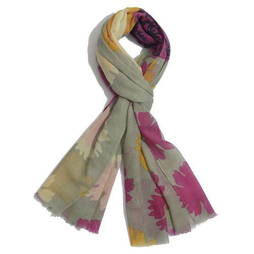 100% Wool Floral Pattern Pink, Yellow and Multi Colour Scarf (Size 180x100 Cm)
