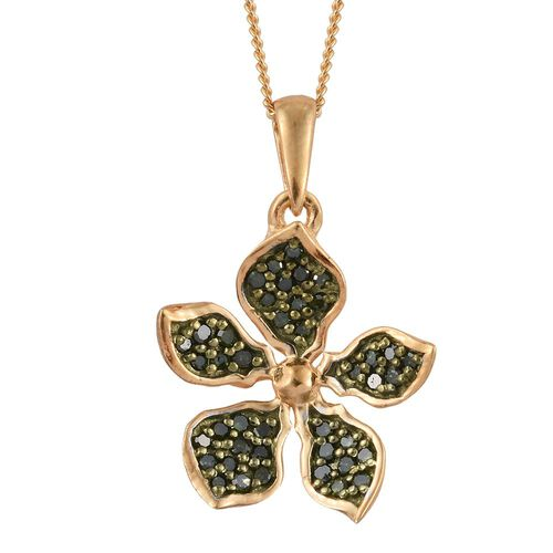 Kimberley Green Diamond (Rnd) Floral Pendant with Chain in 14K Gold Overlay Sterling Silver 0.250 Ct.