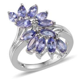 Tanzanite (Mrq) Ring in Platinum Overlay Sterling Silver 3.000 Ct.