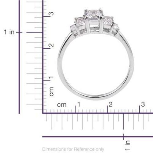 Swarovski Zirconia (1.25 Ct) Platinum Overlay Sterling Silver Ring  1.250  Ct.