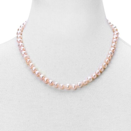 9K White Gold AAAA Fresh Water Peach Pearl Necklace (Size 18)
