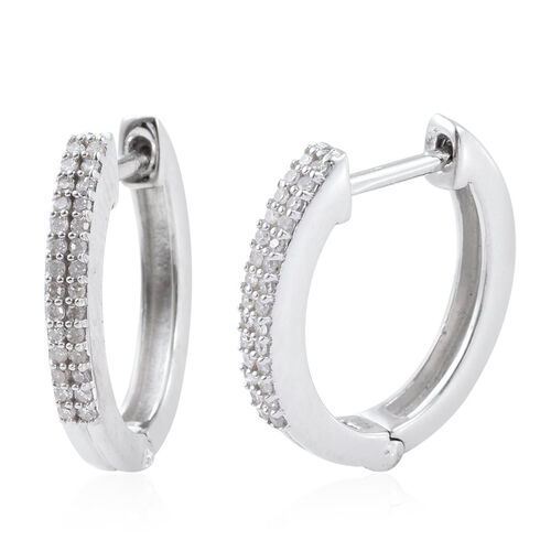 Diamond (Rnd) Hoop Earrings (with Clasp) in Platinum Overlay Sterling Silver 0.250 Ct.