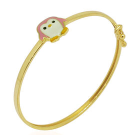 Royal Bali Collection - 9K Yellow Gold White Colour Enameled Penguin Kids Bangle (Size 5)