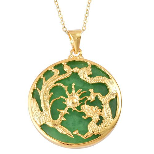 Limited Edition - Green Jade Dragon and Phoenix Pendant with Chain (Size 20) in Yellow Gold Overlay Sterling Silver 18.000 Ct.