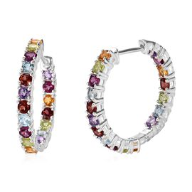 Mozambique Garnet, Rhodolite Garnet, Sky Blue Topaz and Multi Gemstone Hoop Earrings (with Clasp Lock) in Sterling Silver 4.500 Ct. Silver wt 6.11 Gms.