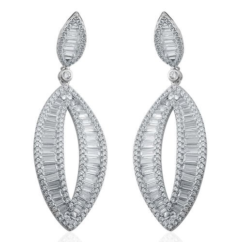 Brilliant Cut ELANZA AAA Simulated Diamond Earrings (with French Clip) in Rhodium Plated Sterling Silver.Silver Wt 15.00 Gms Number of Simulated White Diamonds 346