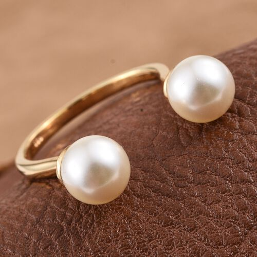 Crystal from Swarovski - Cream Pearl (Rnd) Open Ring in 14K Yellow Gold Overlay Sterling Silver 7.250 Ct.