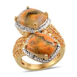 Bumble Bee Jasper (Cush), Yellow Sapphire and Diamond Ring in 14K Gold Overlay Sterling Silver 10.520 Ct.