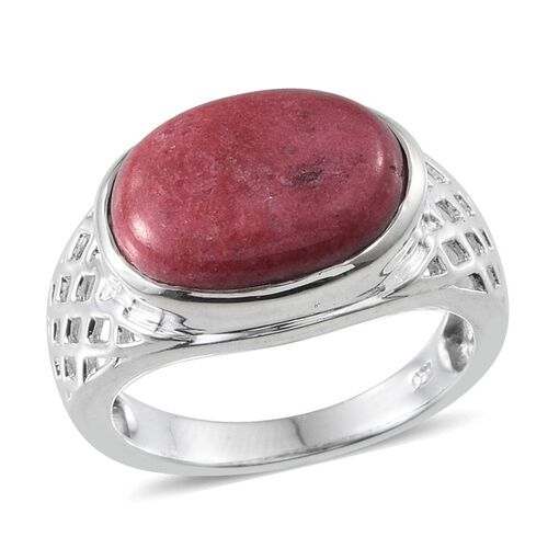 Norwegian Thulite (Ovl) Solitaire Ring in Sterling Silver 7.000 Ct.