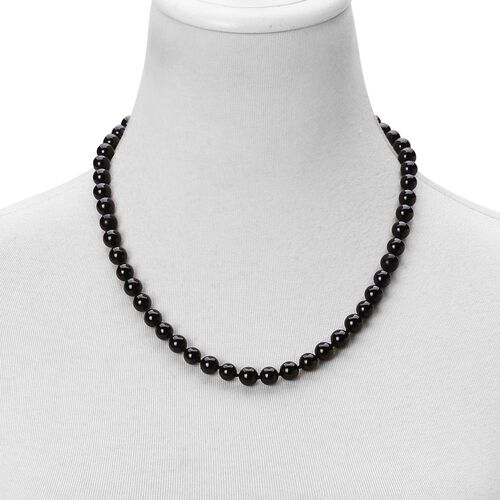High Lustre Boi Ploi Black Spinel Beaded Necklace (Size 20) with Magnetic Clasp in Rhodium Plated Sterling Silver 275.000 Ct.