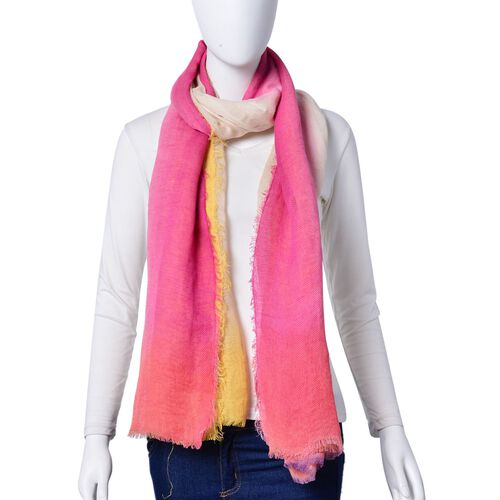 Beige, Pink and Yellow Colour Scarf with Fringes (Size 180X90 Cm)