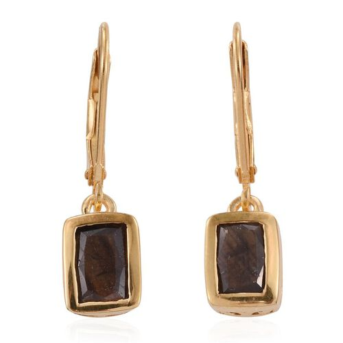 Natural Zawadi Golden Sheen Sapphire (Cush) Lever Back Earrings in 14K Gold Overlay Sterling Silver 2.250 Ct.