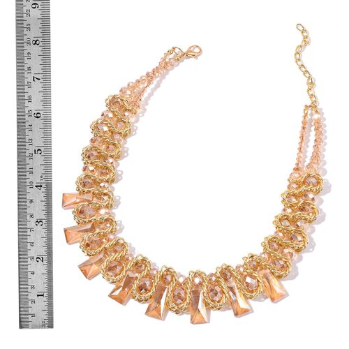 Simulated Champagne Diamond Necklace (Size 16 with 4 inch Extender) and Stretchable Bracelet (Size 7.50) in Yellow Gold Tone