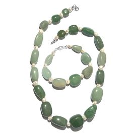Green Aventurine and Fresh Water White Pearl Necklace (Size 20) and Bracelet (Size 8) in Platinum Overlay Sterling Silver 621.600 Ct.