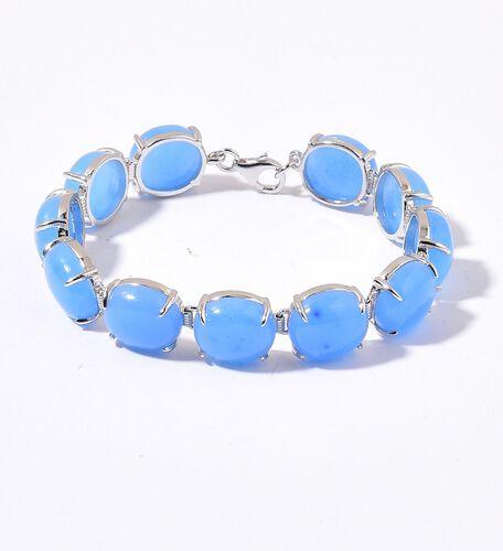 Blue Jade (Ovl) Bracelet (Size 7.5) in Platinum Overlay Sterling Silver 72.500 Ct.