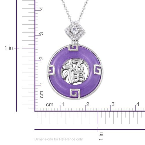 Purple Jade (Rnd 13.00 Ct), White Topaz Chinese Character FU (Happiness) Pendant With Chain in Rhodium and Platinum Overlay Sterling Silver 13.130 Ct.