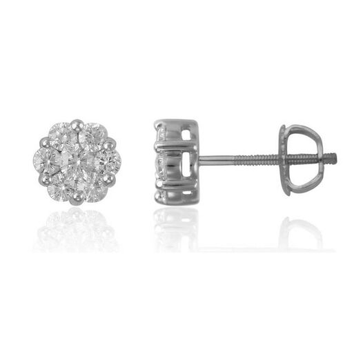 RHAPSODY 950 Platinum 0.75 Carat IGI Certified Diamond (Rnd) (VS/E-F) Floral Stud Earrings (with Screw Back)