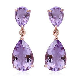 Rose De France Amethyst (Pear) Drop Earrings (with Push Back) in Rose Gold Overlay Sterling Silver 12.960 Ct.