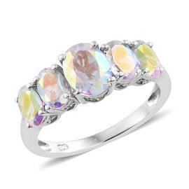 Mercury Mystic Topaz (Ovl 1.20 Ct) 5 Stone Ring in Platinum Overlay Sterling Silver 3.250 Ct.