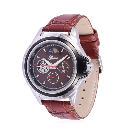 GENOA Automatic Skeleton Chocolate Colour Dial Water Resistant Watch in Silver Tone with Stainless Steel Back and Chocolate Colour Strap with Gift Box
