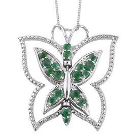 GP Kagem Zambian Emerald (Rnd), Kanchanaburi Blue Sapphire Butterfly Pendant With Chain in Platinum Overlay Sterling Silver