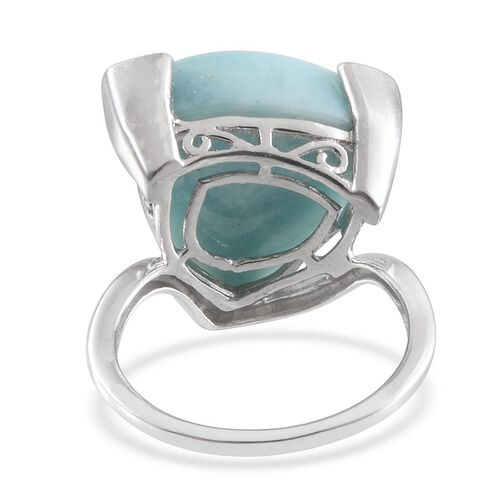 Larimar (Trl) Solitaire Ring in Platinum Overlay Sterling Silver 10.000 Ct.