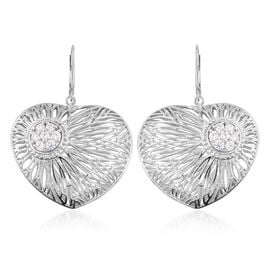J Francis - Platinum Overlay Sterling Silver (Rnd) Heart Lever Back Earrings Made with SWAROVSKI ZIRCONIA, Silver wt 13.00 Gms.