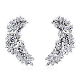 Designer Inspired Fire Cracker Diamond (Bgt) Leaves Earrings (with Push Back) in 14K Gold Overlay Sterling Silver 0.500 Ct.