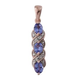 1.02 Ct Tanzanite Kisses Pendant with Diamond in Rose Gold Overlay Sterling Silver