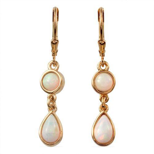 Ethiopian Welo Opal (Pear) Lever Back Earrings in 14K Gold Overlay Sterling Silver 1.500 Ct.