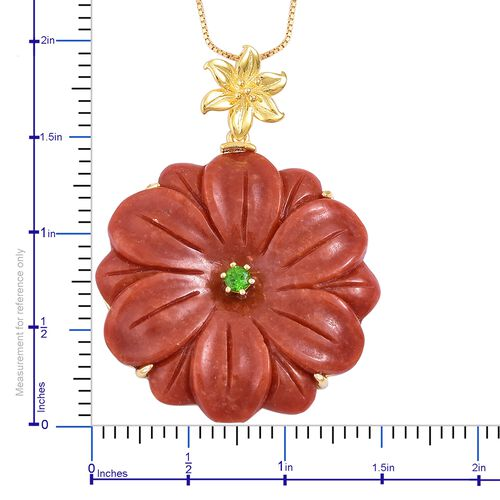 Limited Available-Floral Carved Red Jade and Russian Diopside Pendant With Chain in Yellow Gold Overlay Sterling Silver 51.650 Ct.