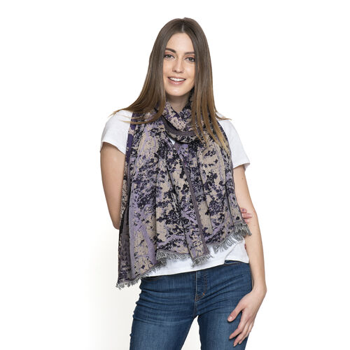 Purple and Multi Colour Abstract Pattern Scarf (Size 180x70 Cm)