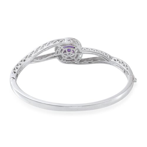 Amethyst (Rnd) Bangle (Size 7.5) in ION Plated Platinum Bond 4.000 Ct.
