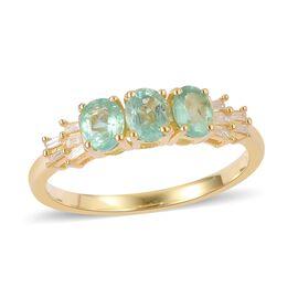 Boyaca Colombian Emerald (Ovl), Diamond Ring in Yellow Gold Overlay Sterling Silver 1.100 Ct.