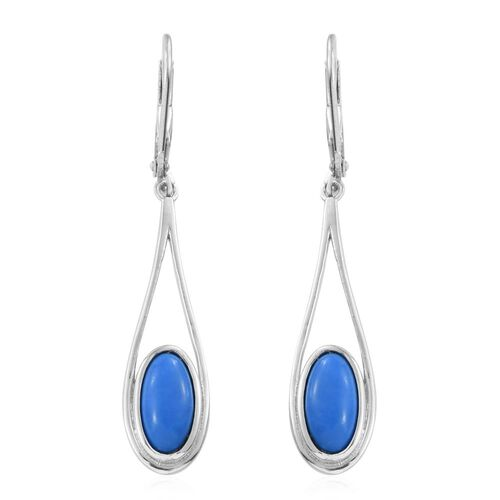 Ceruleite (Ovl) Lever Back Earrings in Platinum Overlay Sterling Silver 2.250 Ct.